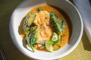 Pan- roasted cod in spicy Thai broth